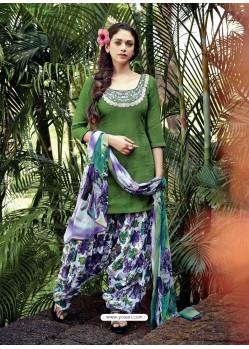 Green Resham Work Punjabi Patiala Suit