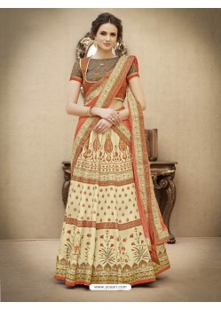Amazing Cream And Grey Pure Banarasi Silk Lehenga Choli