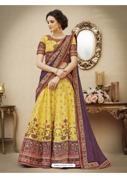 Heavenly Yellow Pure Banarasi Natural Silk Lehenga Choli