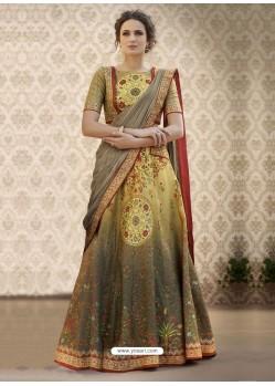 Designer Mustard Banarasi Natural Silk Lehenga Choli