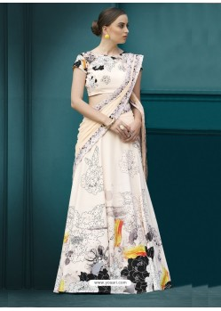 Superb Cream Spandex Silk Printed Lehenga Choli