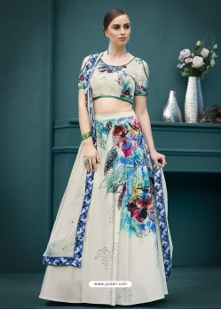 Heavenly Cream Printed Lehenga Choli