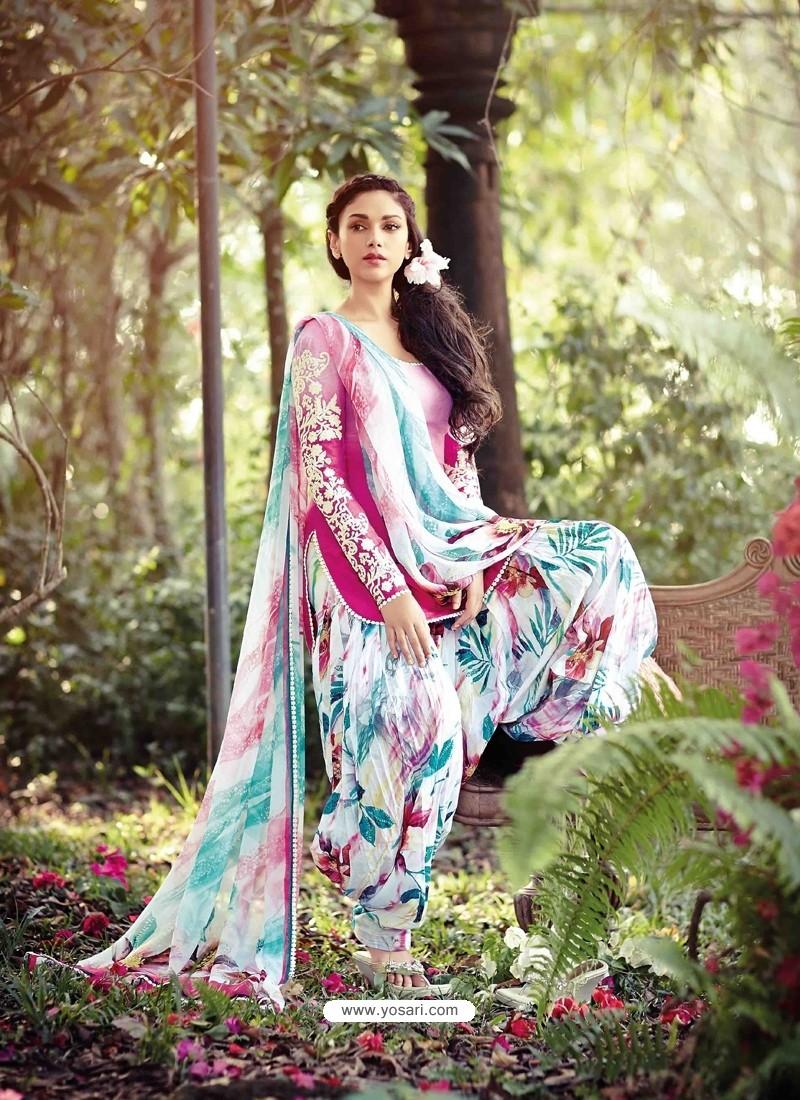 Pink Resham Work Punjabi Patiala Suit