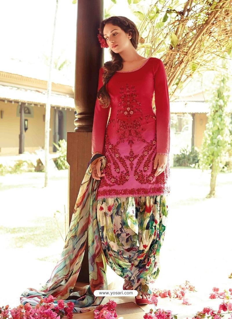 Red Resham Work Punjabi Patiala Suit