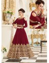 Superb Embroidered Georgette Maroon Floor Length Anarkali Suit