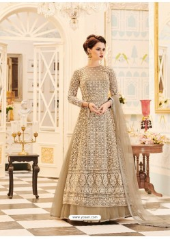 Splendid Beige Net Embroidered Anarkali Salwar Suit