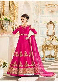 Ordinary Magenta Silk Embroidered Anarkali Suit