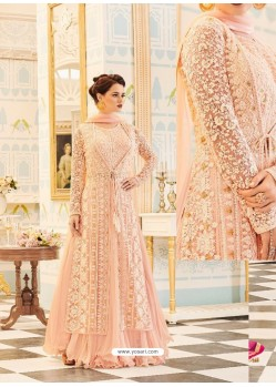 Designer Cream Embroidered Net Georgette Anarkali Salwar Suit