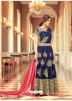 Superb Embroidered Silk Navy Blue Floor Length Anarkali Suit