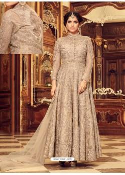 Splendid Beige Net Embroidered Anarkali Salwar Suit