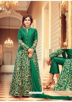 Ordinary Green Designer Silk Anarkali Suit