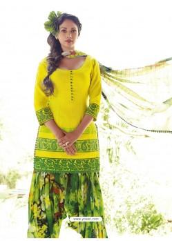 Yellow Resham Work Punjabi Patiala Suit