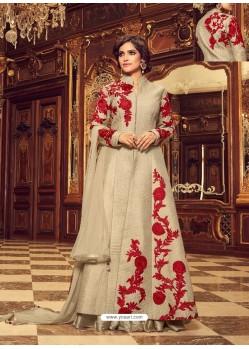 Fabulous Beige Colour Embroidered Anarkali Suit