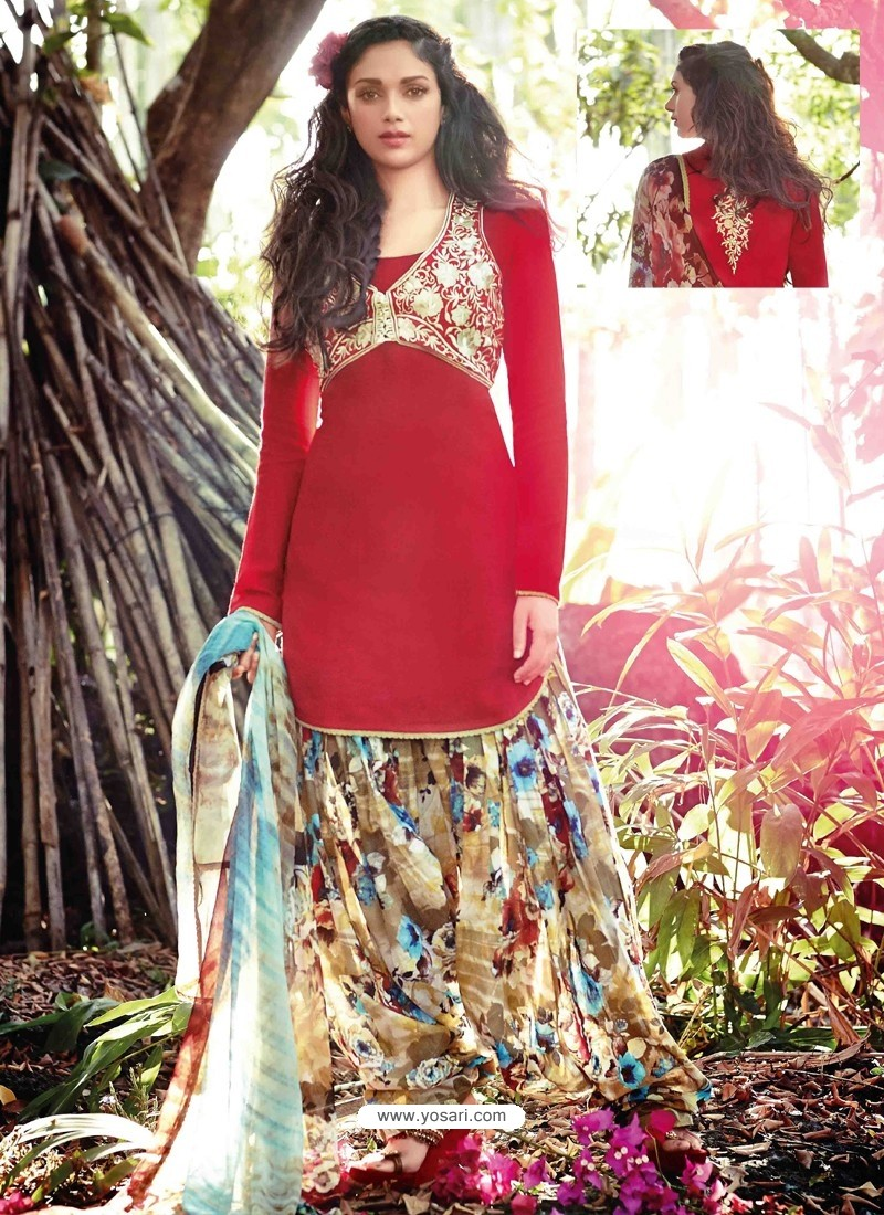 Red Resham Work Punjabi Patiala Suit