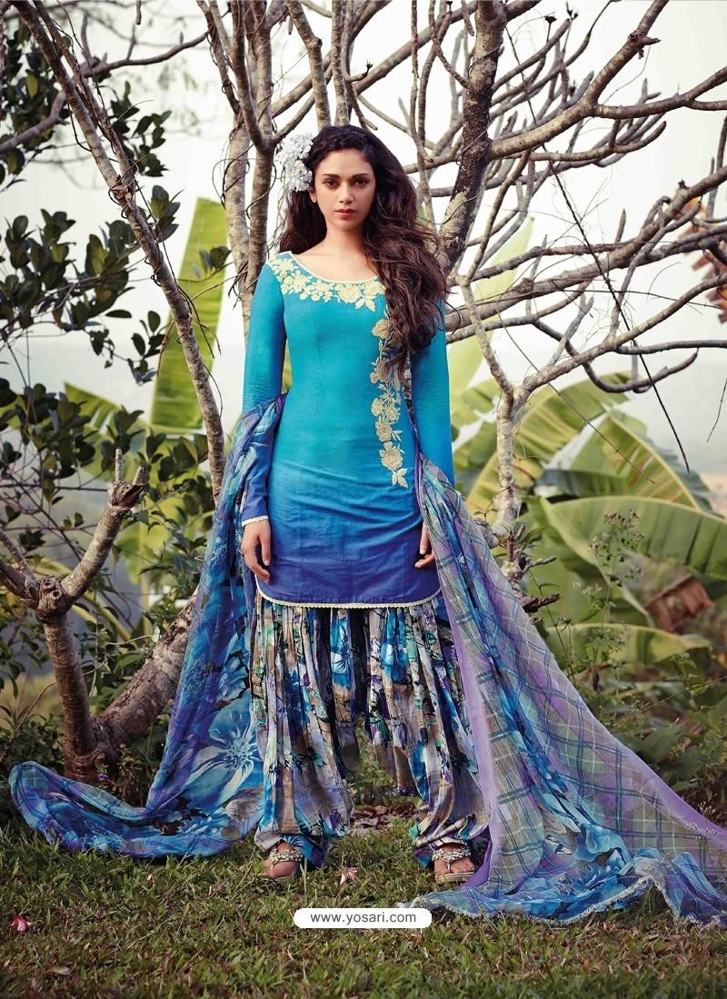 Sky Blue Resham Work Punjabi Patiala Suit