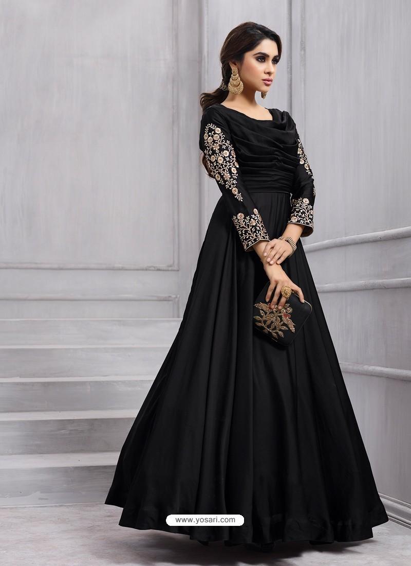 91e7cbf01 Buy Ordinary Black Designer Tapeta Silk Floor Length Anarkali Suit ...