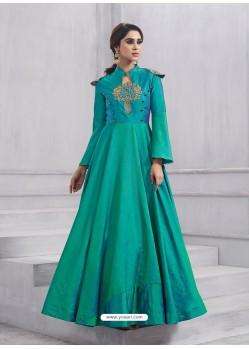Impressive Sea Green Chawa Silk Floor Length Anarkali Suit