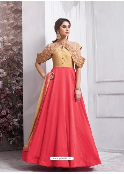 Superb Peach Tapeta Silk Floor Length Anarkali Suit