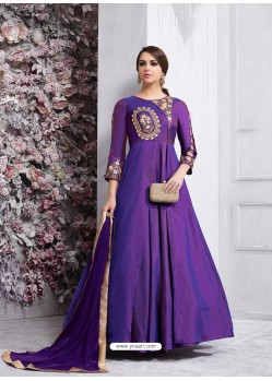 Superb Purple Tapeta Silk Floor Length Anarkali Suit