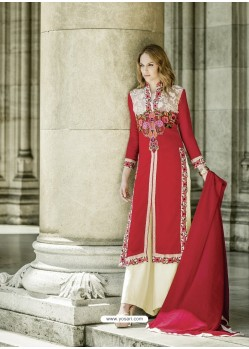 Adorable Red Georgette Embroidery Suit