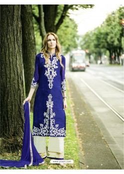 Blue Embroidered Georgette Designer Suit