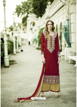 Charming Red Georgette Embroidered Suit