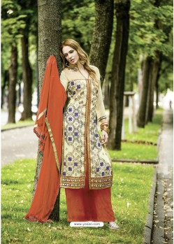Groovy Beige Georgette Embroidered Suit