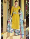 Mustard Resham Work Pakistani Suit