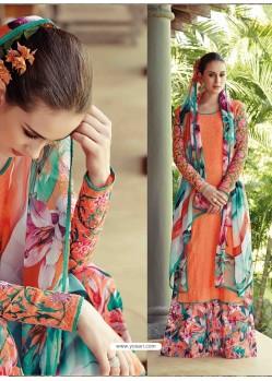 Orange Resham Work Pakistani Suit