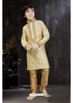 Excellent Gold Banarasi Jacquard Kurta Pajama