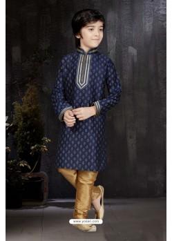 Superb Navy Blue Printed Kurta Pajama