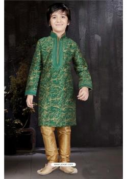 Dashing Green Printed Kurta Pajama