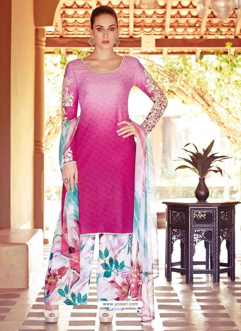 Pink Resham Work Pakistani Suit