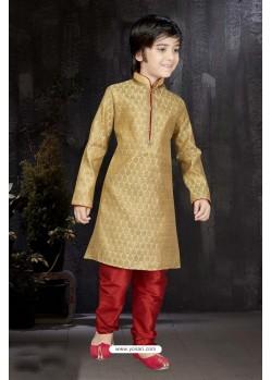 Stylish Gold Banarasi Jacquard Kurta Pajama