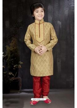Modish Gold Banarasi Jacquard Kurta Pajama