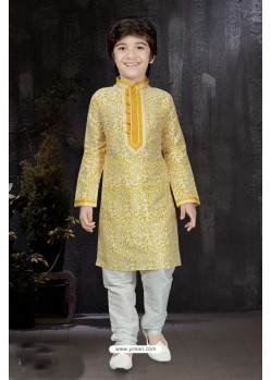 Dashing Yellow Printed Kurta Pajama