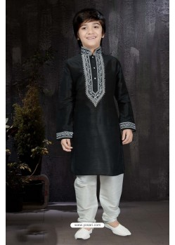 Trendy Black Art Dupion Kurta Pajama