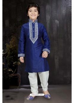 Classic Blue Art Dupion Kurta Pajama