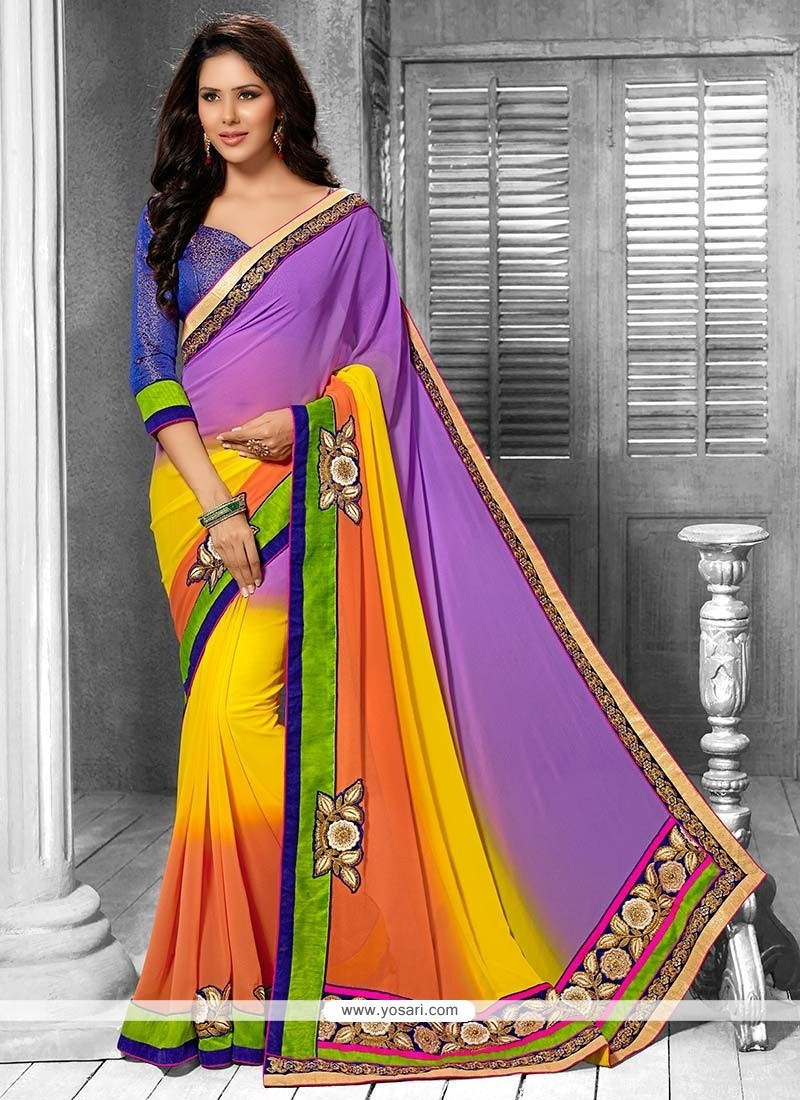 Splendid Multicolor Applique Enhanced Georgette Saree