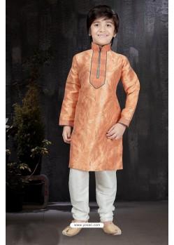 Stylish Peach Banarasi Silk Kurta Pajama