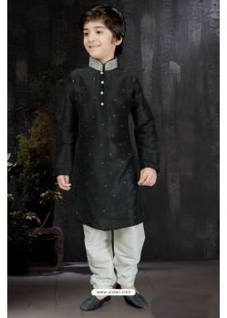 Excellent Black Art Dupion Kurta Pajama
