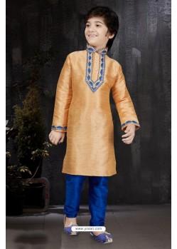 Trendy Orange Banarasi Jacquard Kurta Pajama