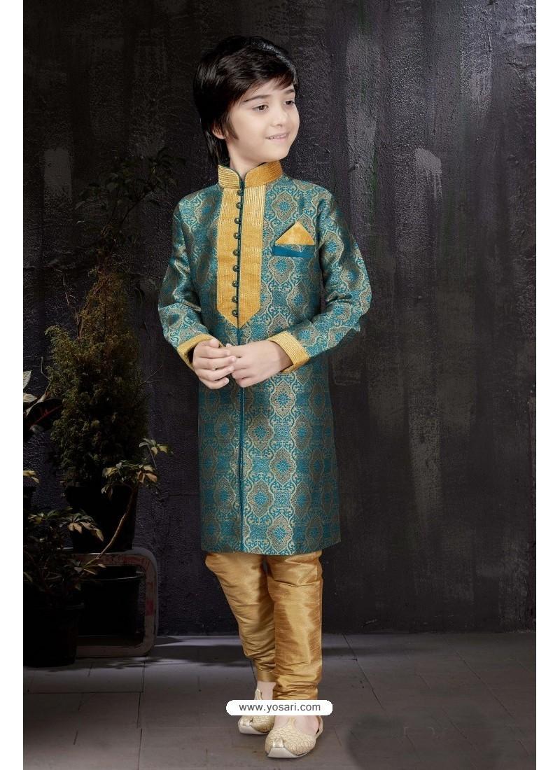Classic Teal Banarasi Jacquard Kurta Pajama