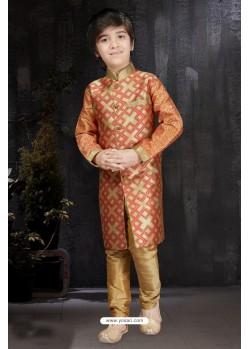 Dashing Orange Banarasi Jacquard Kurta Pajama