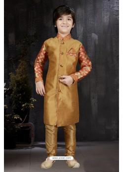 Eye Catching Gold Banarasi Jacquard Kurta Pajama