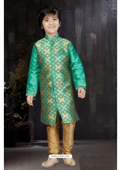 Stylish Sea Green Banarasi Jacquard Kurta Pajama