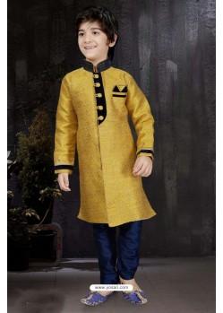 Excellent Yellow Banarasi Jacquard Kurta Pajama