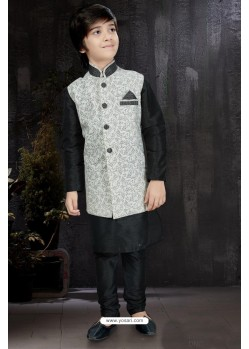 Modish Black Art Dupion Kurta Pajama