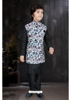 Classy Black Art Dupion Kurta Pajama