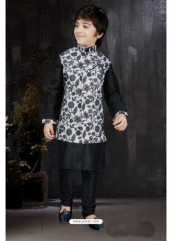 Dashing Black Art Dupion Kurta Pajama